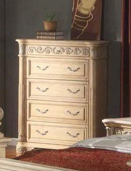 "Sienna Sienna-ch 44"" Traditional 4-drawer Chest With Hand Carved Designs Decorative Hardware And Pilatsers In White"