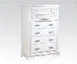 "Flora Collection 01666 36"" Chest with 6 Drawers Brushed Metal Hardware Carved Apron Floral Design and Poplar Solid Wood Construction in White"