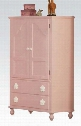 "Floresville Collection 00743 40"" TV Armoire with 3 Removable Shelves 2 Doors 2 Drawers White Flower Drawer Pulls and Rubberwood Materials in Pink"