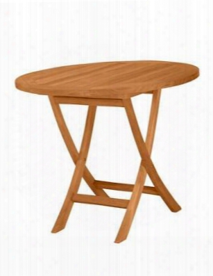 "Bahama Collection Tbf-035r 35"" Round Bisttro Folding Table With Teak Wood Construction And Stretchers In Natural"
