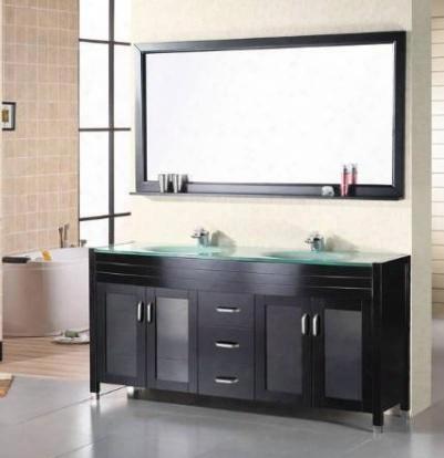 """Dec016b Waterfall 72"""" Double Sink Vanity Set In"""