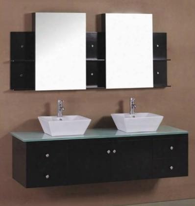 """Dec071a Portland 61"""" Double Sink - Wall Mount Vanity Set In"""