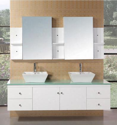 """Dec071b-w Portland 72"""" Double Sink - Wall Mount Vanity Set In"""