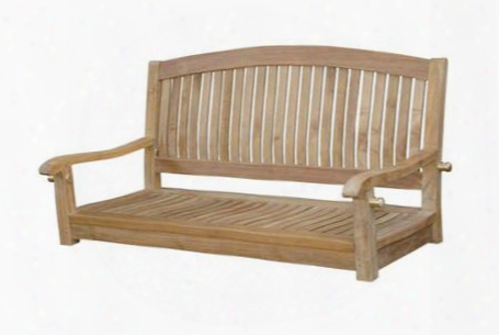 """Del-amo Accumulation Sw-048r 48"""" Round Swing Bench With Curvy High Back Premium Solid Teakwood Construction And Wooden Dowel In Natural"""
