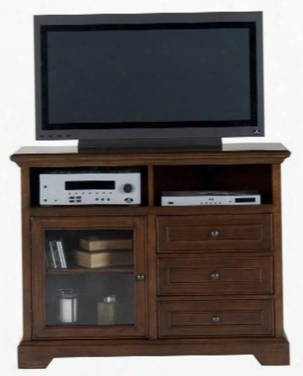 "Eureka Cherry Collection 042-9 48"" Media Unit With Adjustable Shelf Behind Glass Door And English Dovetail Drawer Construction In Eureka Cherry"
