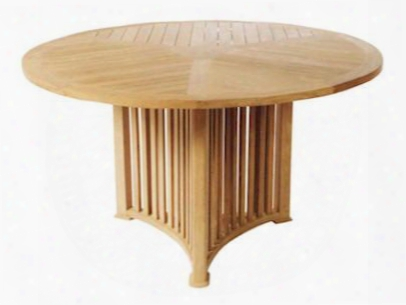 "Mission Collection Tb-062 51"" Round Table With Teak Wood Construction And Wooden Dowel In Natural"