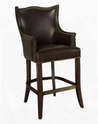"Montoya Series 130887sr 30"" Traditional Bar Stool With Mortise And Tenon Construction And Adjustable Leg Leve1ers Finished In Sierra With Porter Brown Genuine"