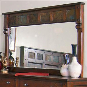 "Santa Fe Collection 2322dc-m 60"" X 37"" Mirror With Natural Slate Accents And Mindi Wood Frame In Dark Chocolate"