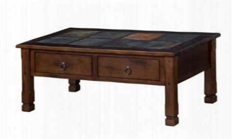 "Santa Fe Collection 3143dc 49"" Coffee Table With Two Dovetail Drawers Natural Slate And Antique Bronze Ring Pull In Dark Chocolate"