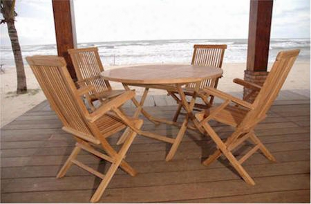 "Set-28 5-piece Dining Set With Bahama 47"" Round Folding Table And 4 Classic Folding"