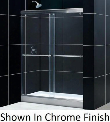 Shdr-1360728-04 Charisma 56 To 60 Frameless Bypass Sliding Shower Door Clear 5/16 Glass Door Brushed Nickel
