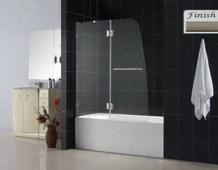 Shdr-3348588-04 Aqualux 48 Frameless Hinged Tub Door Clear 5/16 Glass Door Brushed Nickel