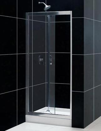 Shdr-4536726-01 Butterfly 34 To 35 1/2 Frameless Bi-fold Shower Door Clear 1/4 Glass Door Chrome