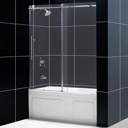 Shdr-61606210-08 Enigma-x 56 To 59 Frameless Sliding Tub Door Clear 3/8 Glass Door Polished Stainless Steel