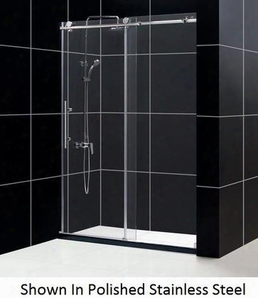 Shdr-61607610-08 Enigma-x 56 To 60 Fully Frameless Sliding Shower Door Clear 3/8 Glass Door Polished Stainless Steel