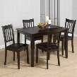 891 Marlin County 5 Piece Casual Dining Table Set with 1 Table and 4 Chairs with Faux Leather Upholstery and Solid Wood Construction in