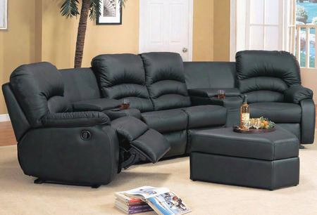 Ve4001br Vetura 4 Piece Bonded Leather Set 2 Recliner Chairs Love Seat And Ottoman In