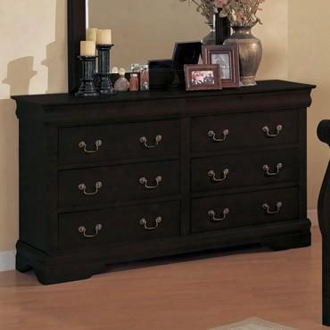 6707dr-bk Louis Philippe 6 Drawer Dresser In Black