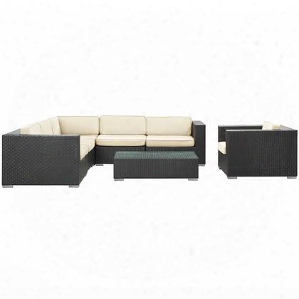 Eei-606-exp-whi-set Corona 7 Piece Outdoor Patio Sectional Set In Espresso White