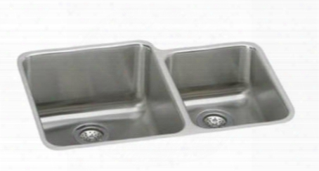 "Eluh3121r Gourmet 30-3/4"" X 21' Udnermount Double Basin Stainless Steel Kitchen Sink With Left Primary"