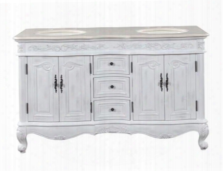 "Hyp-0145-cm-uic-58 Ella 58"" Double Sink Cabinet With 4 Carved Doors 3 Drawers Cream Marfil Top Undermount Ivory Ceramic Sink (3-hole) And Cabriole Legs In"