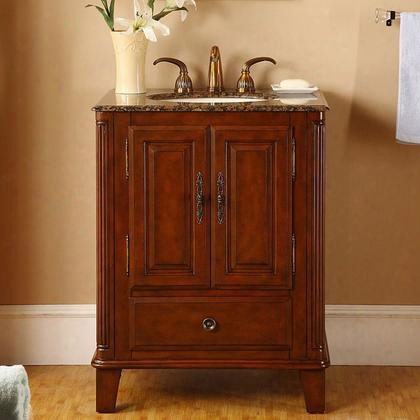 "Hyp-0207-bb-uic-28 Allegheny 28"" Single Sink Cabinet With 1 Drawer 2 Doors Baltic Brown Granite Top Undermount Ivory Ceramic Sink (3-hole) And Tapered Legs"