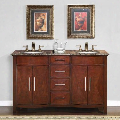 "Hyp-0221-bb-uwc-58 Cambridge 58"" Double Sink Cabinet With 4 Drawers 4 Doors Baltic Brown Granite Top And Undermount White Ceramic Sinks (3-hole) In Cherry"