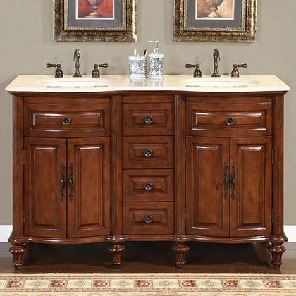 "Hyp-0719-cm-uic-55 Camellia 55"" Double Sink Cabinet With 6 Drawers 2 Doors Crema Marfil Marble Top And Undermount Ivory Ceramic Sinks (3-hole) In Walnut"