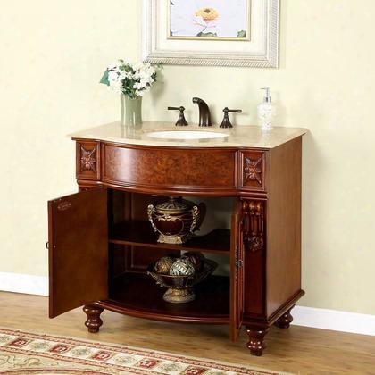 """Jyp-0192-t-uic-36 Juliana 36"""" Single Sink Cabinet With 2 Doors Travertine Top And Undermount Ivory Ceramic Sink (3-hole) In Brown"""