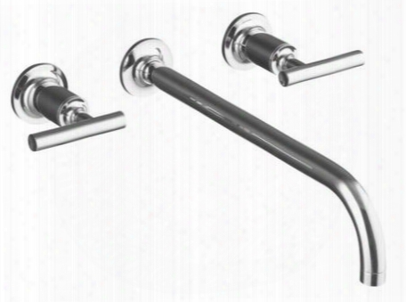 K-t14416-4-bv Purist Series Double Handle Widespread Wall Mounted Bathroom Faucet With Metal Lever Handles: Brushed