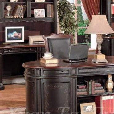 Kaa6193ch Kahlua Credenza And Hutch In A Two Tone Black And Dark Cherry