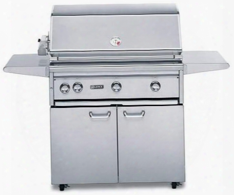 "L54psfr-2lp Professional Series 54"" Grill On Cart With 3 Brass Burners 1 Prosear2 Burner And Rotisserie 1555 Sq. In. Cooking Surface And Heat Stabilizing"