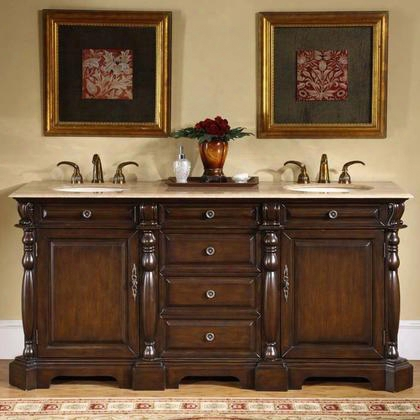 "Ltp-0176-t-uic-72 Cynthia 72"" Double Sink Cabinet With 4 Draaers 2 Doors Travertine Top And Undermount Ivory Ceramic Sinks (3-hole) In Dark Chestnut"