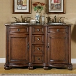 """LTP-0180-BB-UIC-52 Adela 52"""" Double Sink Cabinet with 4 Drawers 2 Doors Baltic Brown Granite Top and Undermount Ivory Ceramic Sinks (3-Hole) in Chestnut"""
