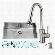 "VG15070 32"" Stainless Steel Kitchen Sink Set with 16.75"" Stainless Steel Faucet Pull-Out Spray Head Strainer Colander Embossed VIGO Cutting Board and Soap"