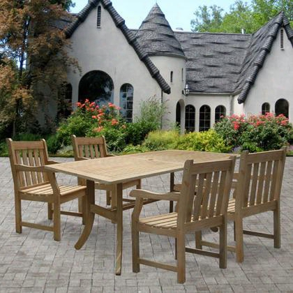 V1300set5 Renaissance Rectangular Table & Armchair Outdoor Hand-scraped Hardwood Dining