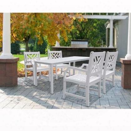 V1336set8 Bradley Rectangular Table & Armchair Outdoor Wood Dining Set