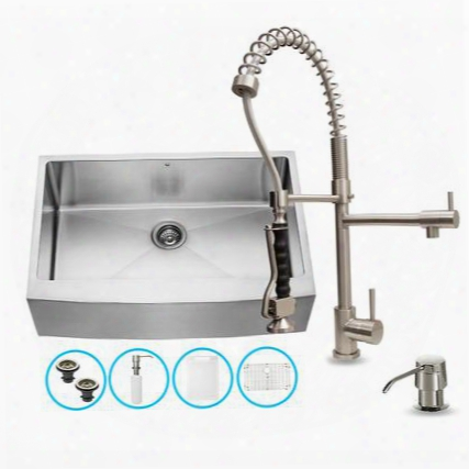 "Vg15086 32"" Stainless Steel Kitchen Sink Set With 10.125"" Stainless Steel Faucet Pull-out Spray Head Faucet Grid Strainer Embossed Vigo Cutting Board And"