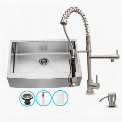 """Vg15087 32"""" Stainless Steel Kitchen Sink Set With 27.25"""" Stainless Steel Faucet Pull-out Spray Head Faucet Grid Strainer Embossed Vigo Cutting Board And"""