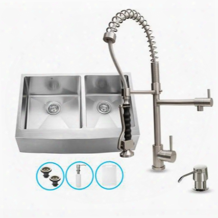 "Vg15092 33"" Stainless Steel Kitchen Sink Set With 27.25"" Stainless Steel Faucet Pull-out Spray Head Faucet 2 Strainers Embossed Vigo Cutting Board And Soap"