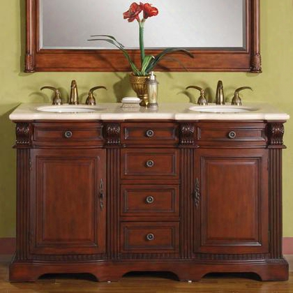 "Wfh-0197-cm-uwc-58 Olivia 58"" Double Sink Cabinet With 4 Drawers 2 Doors Cream Marfil Marble Top And Undermount White Ceramic Sink (3 Holes) In Cherry"