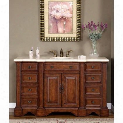 "Wfh-0199-cm-uwc-58 Sabina 58"" Single Sink Cabinet With 8 Drawers 4 Doors Cream Marfil Marble Top And Undermount White Ceramic Sink (3 Holes) In Natural Wood"