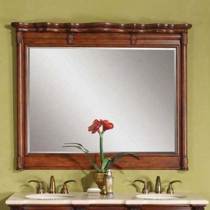 Wfh-0199m-58 Sabina Rectangular Wall Mirror With Beveled Edge Carvings And Molding Details In Brown