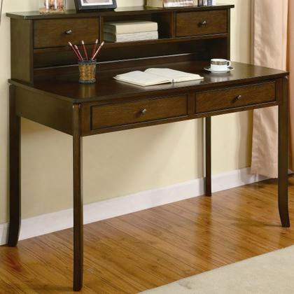 800769 Classic Writing Desk With Small Storage Hutch By