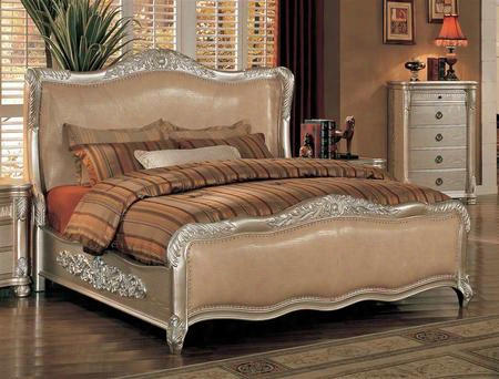 Be7001k Bellevue King Wood Bed With Leather In Antique Silver