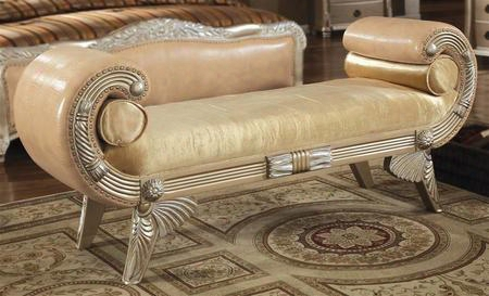 Be7008b Bellevue Wooden Bench With Leather In Antique Silver