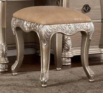 Be7009st Bellevue Vanity Stool With Leather In Antique Silver