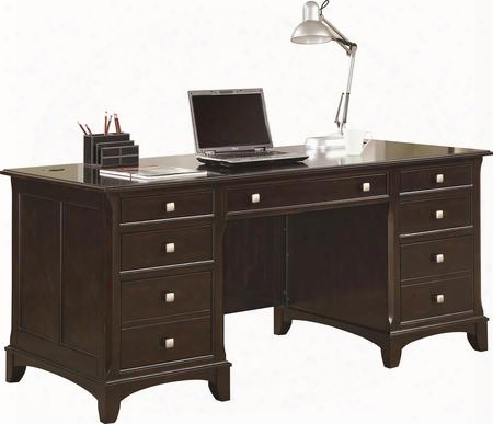 "Garson 801012 66"" Desk With 7 Drawers Double Pedestal Wire Management Keyboard Drawer And Brushed Nickel Hardware In Cappuccino"