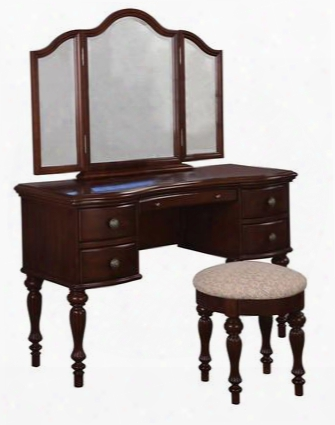 "Marquis Cherry Collection 508-290 58"" Vanity Trifold Mirror And Thickly Upholstered Round Bench With Decorative Hardware Curved Drawers Turned Legs And"