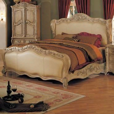 Nc8001k Nicia King Size Be D Intricately Carved With Top Grain Leather Covered Headboard And Footboard In Whitewash